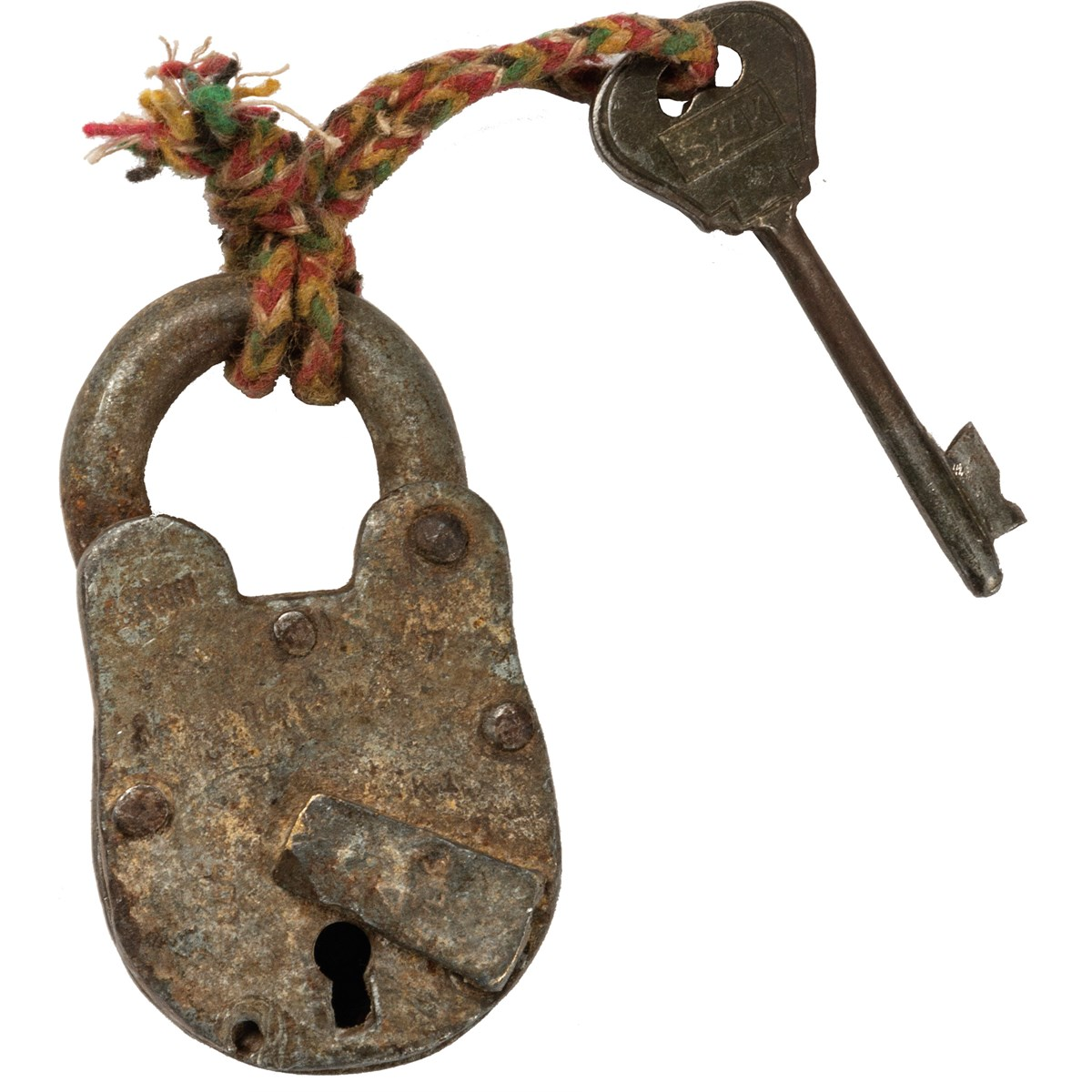 "Lock & Key - Antique - 1.50"" x 2.75"" x 0.75"" - Metal, Fabric"