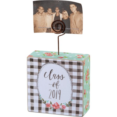 "Photo Block - Class of 2019 - 3.50"" x 3.50"" x 1.50"", Plus Wire - Wood, Paper, Wire"