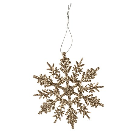 "Ornament - Lg Snow Crystal - 4"" x 4"" - Plastic, Glitter, String"