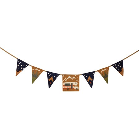 "Pennant Garland - Camp Often - 48"" x 8"" - Fabric, Jute"