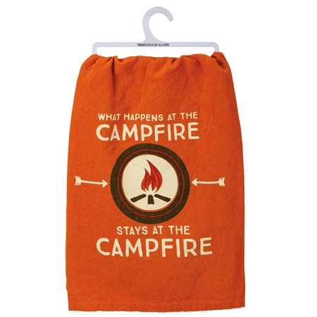 "Dish Towel - What Happens At The Campfire - 28"" x 28"" - Cotton"