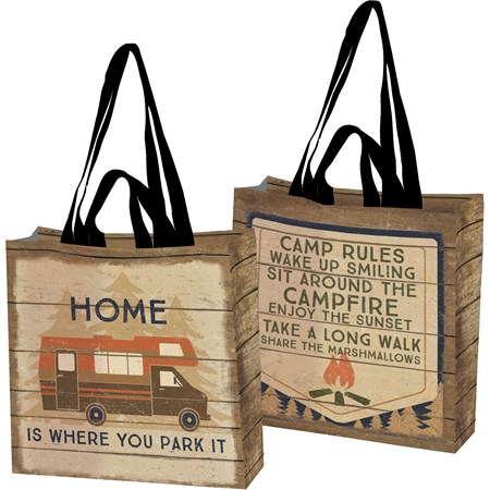 "Market Tote - Camp Rules - 15.50"" x 15.25"" x 6"" - Post-Consumer Material, Nylon"