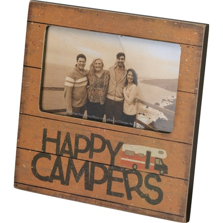 "Plaque Frame - Happy Campers - 6"" x 6"" x 0.25"", Fits 5"" x 3"" Photo - Wood, Paper, Glass, Metal"