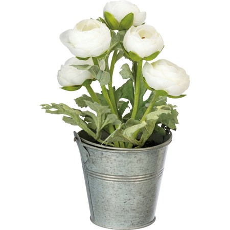 "Planter - White Ranunculus - 4"" Diameter x 9"" - Metal, Fabric, Plastic"