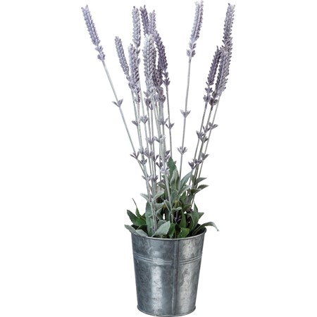 "Planter - Lavender - 5"" Diameter x 16.50"" - Metal, Fabric, Plastic"
