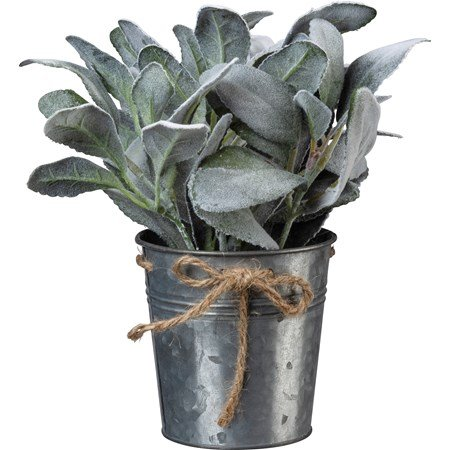 "Planter - Lamb's Ear - 4.25"" Diameter x 9.50"" - Metal, Fabric, Plastic, Jute"