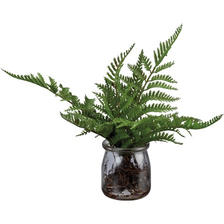 "Jar- Fern - 2.75"" Diameter x 10"" - Glass, Plastic, Stone, Wire"