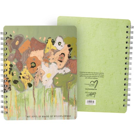 "Spiral Notebook - My Soul Is Made Of Wildflowers - 7"" x 9"" x 0.50"" - Paper, Metal"