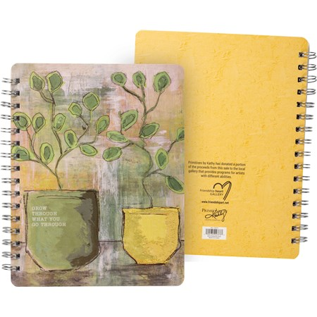 "Spiral Notebook - Grow Through What You Go Through - 5.75"" x 7.50"" x 0.50"" - Paper, Metal"