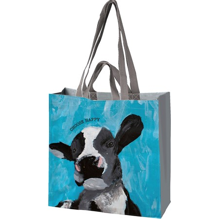 "Market Tote - Choose Happy - 15.50"" x 15.25"" x 6"" - Post-Consumer Material, Nylon"