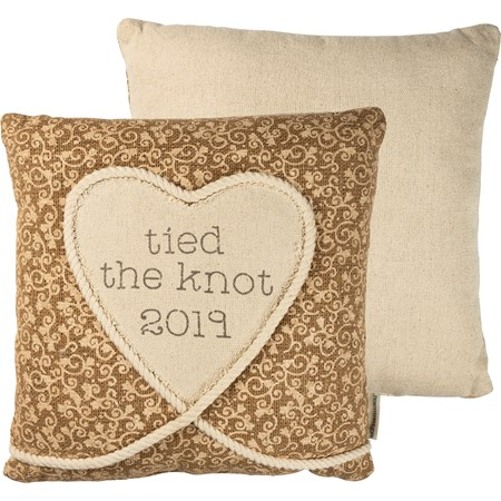 "Pillow - Tied The Knot 2019 - 16"" x 16"" - Burlap, Polyester, Rope"