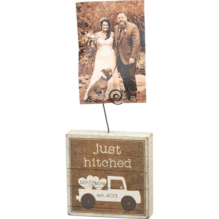 "Photo Block - Just Hitched Mr & Mrs Est 2019 - 5"" x 5"" x 1.50"", Plus Wire - Wood, Paper, Wire"