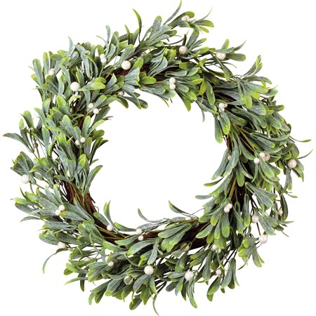 "Wreath - Mistletoe - 20"" Outside Diameter - Plastic, Wire, Wood"