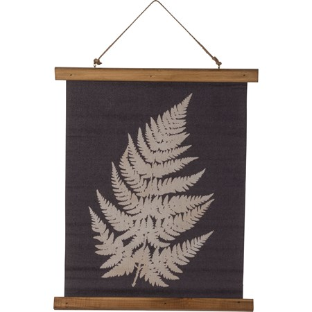 "Wall Decor - Single Fern - 15.75"" x 19.25"" x 0.75"" - Canvas, Wood, Jute"