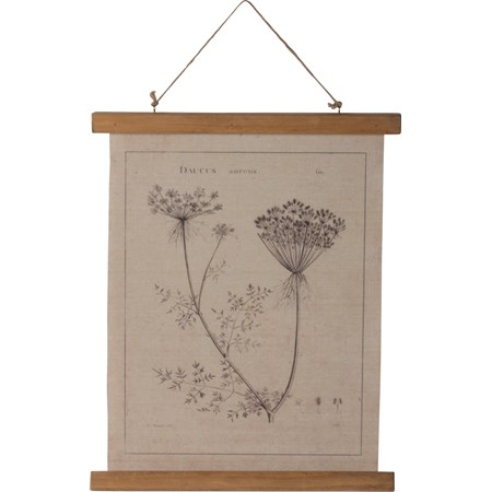 "Wall Decor - Queen Anne's Lace - 15.75"" x 19.25"" x 0.75"" - Canvas, Wood, Jute"