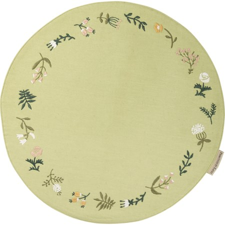"Round Placemat - Floral - 16"" Diameter - Cotton, Linen"