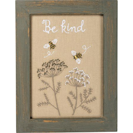 "Stitchery - Be Kind - 7"" x 9"" x 0.75"" - Cotton, Linen, Wood"