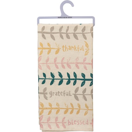 "Dish Towel - Thankful Grateful Blessed - 20"" x 26"" - Cotton, Linen"