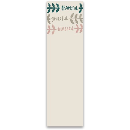 "List Notepad - Thankful Grateful Blessed - 2.75"" x 9.50"" x 0.25"" - Paper, Magnet"