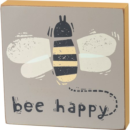 "Block Sign - Bee Happy - 5"" x 5"" x 1"" - Wood"