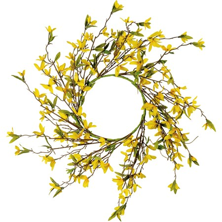 "Wreath - Forsythia - 20"" Outside Diameter - Plastic, Fabric, Wire"