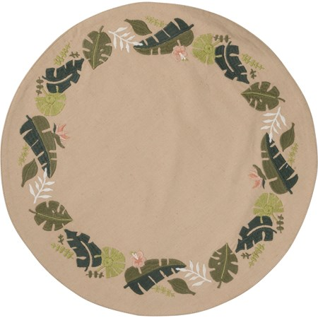 "Round Placemat - Botanical - 16"" Diameter - Cotton, Linen"