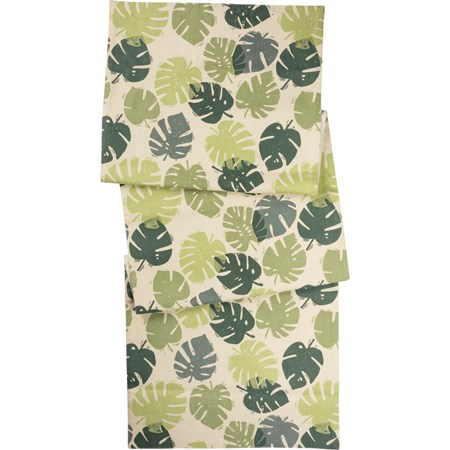 "Runner - Monstera Leaf - 52"" x 15"" - Cotton, Linen"