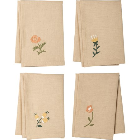 "Napkin Set - Botanical - 15"" x 15"" - Cotton, Linen"