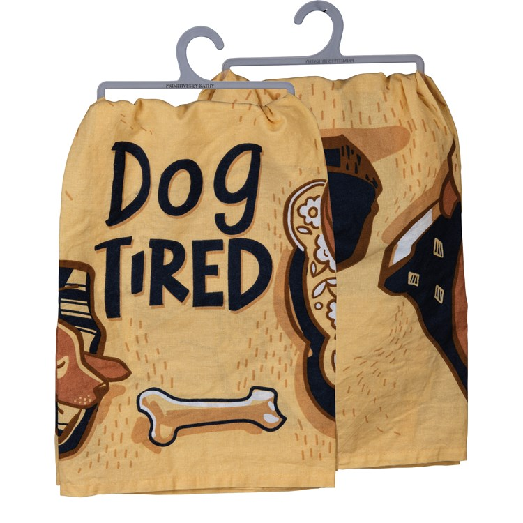 "Dish Towel - Dog Tired - 28"" x 28"" - Cotton"