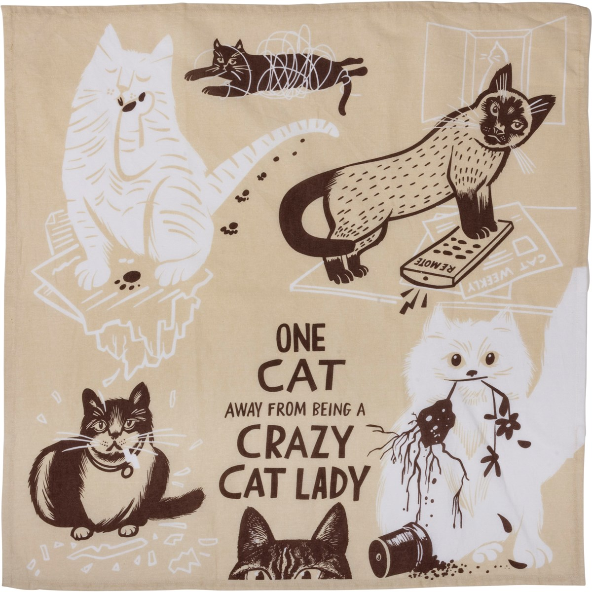 "Dish Towel - One Cat Away From A Crazy Cat Lady - 28"" x 28"" - Cotton"