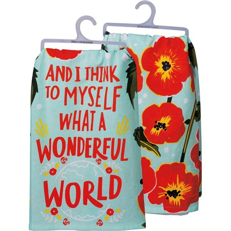 "Dish Towel - What A Wonderful World - 28"" x 28"" - Cotton"