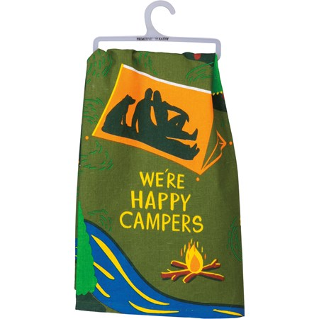 "Dish Towel - We're Happy Campers - 28"" x 28"" - Cotton"