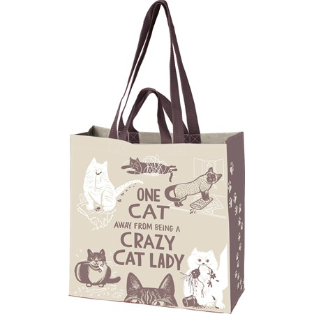 "Market Tote - Crazy Cat Lady - 15.50"" x 15.25"" x 6""   - Post-Consumer Material, Nylon"