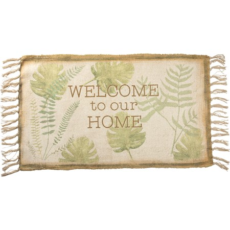 "Rug - Welcome To Our Home - 34"" x 20"" - Polyester, Cotton"