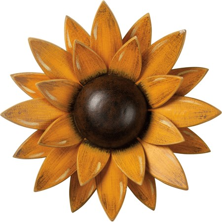 "Wall Decor - Sunflower - 9"" Diameter x 1.75"" - Wood"
