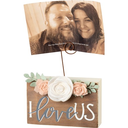 "Photo Block - I Love Us - 5.50"" x 3.50"" x 1.50"", Plus Wire - Wood, Felt, Wire"