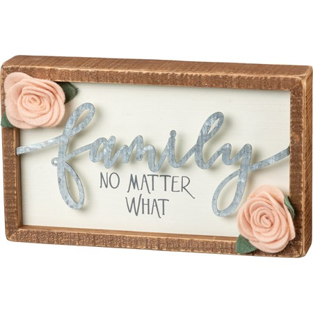 "Inset Box Sign - Family No Matter What - 10"" x 6"" x 1.75"" - Wood, Metal, Felt"
