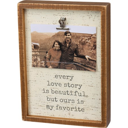 "Inset Box Frame - Love Story - 8"" x 11"" x 2"", Fits 6"" x 4"" Photo - Wood, Metal"