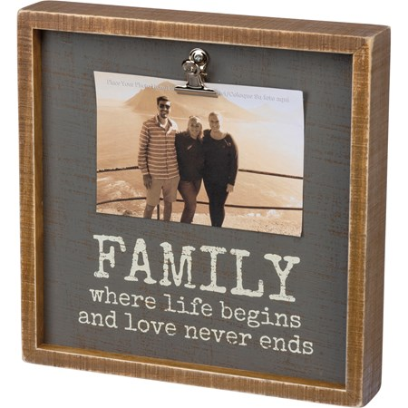 "Inset Box Frame - Family Love Never Ends - 10"" x 10"" x 2"", Fits 6"" x 4"" Photo - Wood, Metal"