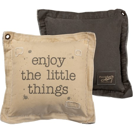 "Pillow - Enjoy The Little Things - 18"" x 18"" - Canvas, Metal"