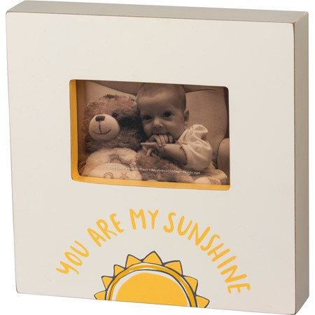 "Box Frame - You Are My Sunshine - 10"" x 10"" x 2"", Fits 6"" x 4"" Photo - Wood, Glass"