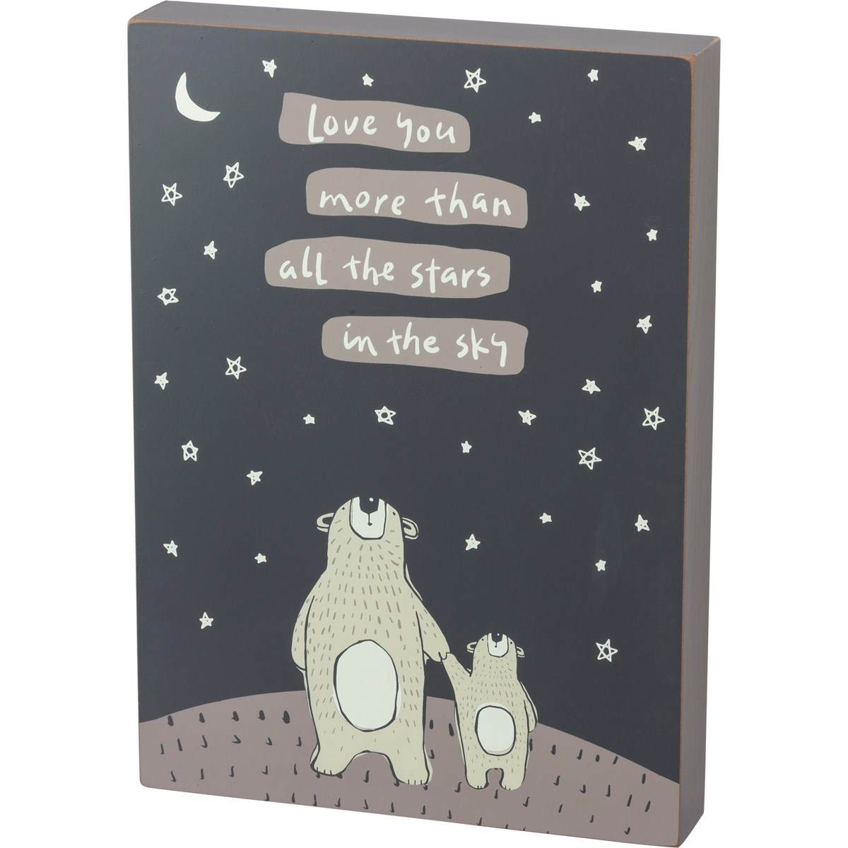 "Box Sign - Love You More Than All The Stars - 10"" x 14"" x 1.75"" - Wood"