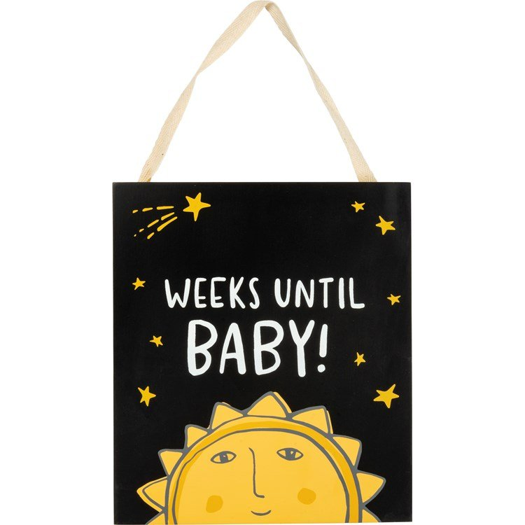 "Chalk Countdown - Weeks Until Baby - 7"" x 8"" x 0.25"" - Wood, Cotton"