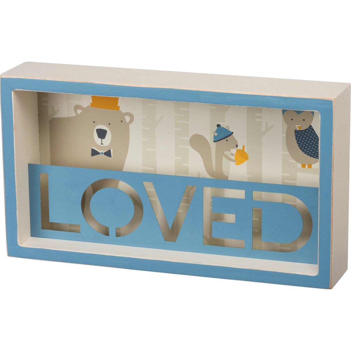 "Reverse Box Sign - Loved - 9"" x 5"" x 1.75"" - Wood, Metal"
