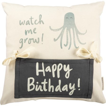 "Milestone Pillow - Octopus - 15"" x 15"" - Cotton, Polyester, Ribbon, Zipper"