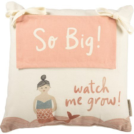 "Milestone Pillow - Mermaid - 15"" x 15"" - Cotton, Polyester, Ribbon, Zipper"