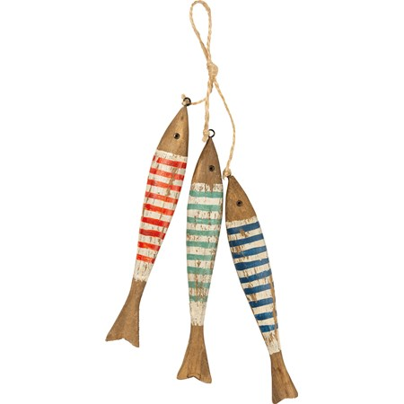 "Hanging Decor - Striped Fish - 1"" x 7.75"" x 1.50"" - Wood, Metal, Jute"