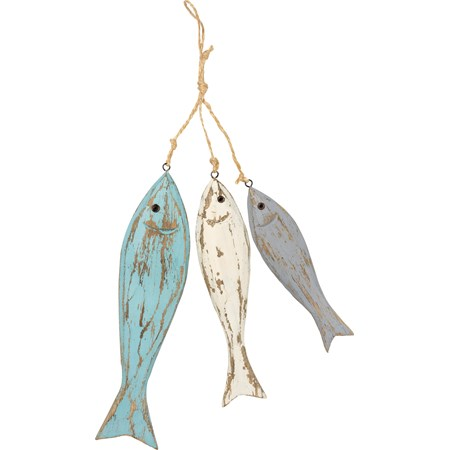 "Hanging Decor - Fish Trio - 2.25"" x 8.50"" x 0.50"", 1.75"" x 7"" x 0.50"", 1.50"" x 6"" x 0.50"" - Wood, Metal, Jute"