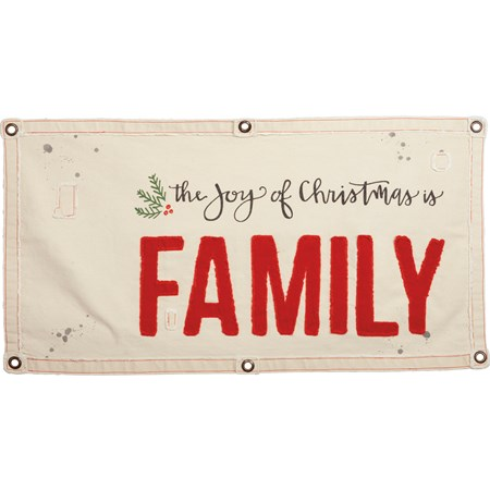 "Wall Banner - The Joy Of Christmas Is Family - 40"" x 20"" - Canvas, Metal"