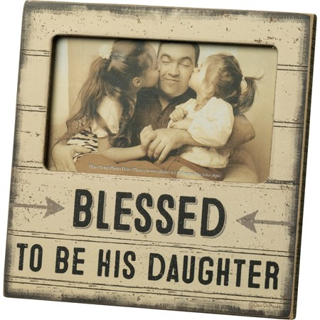 "Plaque Frame - Blessed To Be His Daughter - 6"" x 6"" x 0.25"", Fits 5"" x 3"" Photo - Wood, Paper, Glass, Metal"